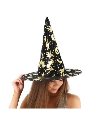 Shimmery Gold & Black Wizard & Witches Pointed Hat Halloween Fancy Dress Accessory