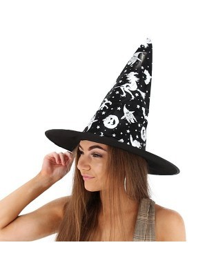 Shimmery Silver & Black Wizard & Witches Pointed Hat Halloween Fancy Dress Accessory