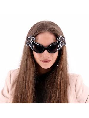 Black Fancy Dame Edna Style Sunglasses