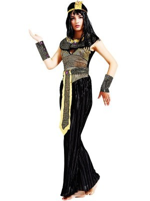 Black & Gold Egyptian Queen Fancy Dress Costume - One Size