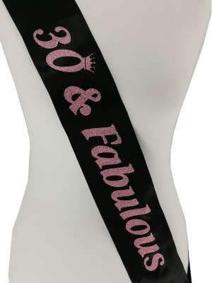Black With Pink Glitter '30 & Fabulous' Birthday Sash