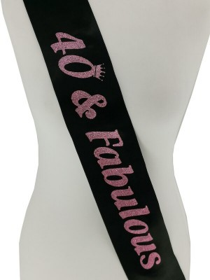 Black With Pink Glitter '40 & Fabulous' Birthday Sash