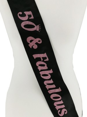 Black With Pink Glitter '50 & Fabulous' Birthday Sash
