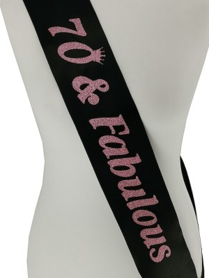Black With Pink Glitter '70 & Fabulous' Birthday Sash