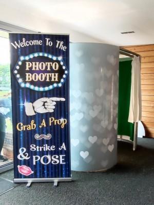 Blue Showbiz Glitzy Curtain 'Photo Booth' Pop Up Roller Banner