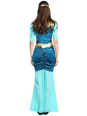 Blue & Gold Cleopatra Egyptian Fancy Dress Costume - One Size