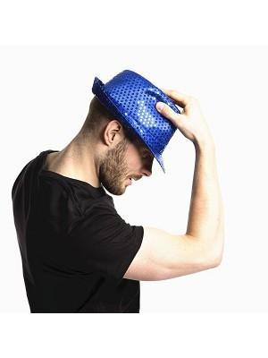 Super Cool Blue Sequin Gangster Hat