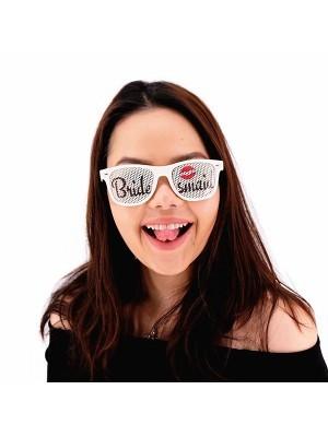 White 'Bridesmaid' Sunglasses With Lips