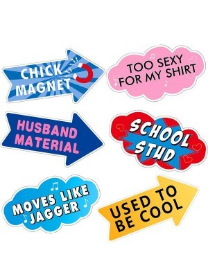 The 'Chick Magnet' Word Board Photo Booth Prop Multi Pack of 6