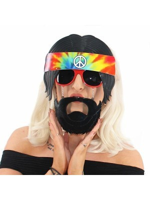 Hippie Sunglasses With Headband And Beard