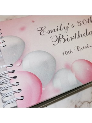 CUSTOM Pastel Celebratory Pink Silver Balloons Confetti Guestbook with Different Page Style Options