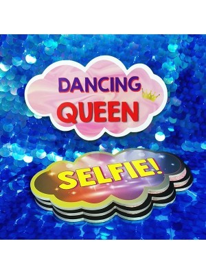 Dancing Queen & Selfie, Double-Sided PVC Cloud Photo Booth Word Board Signs