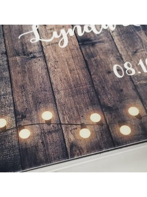 CUSTOM Dark Rustic Wooden Warming Fairy Lights Guestbook with Different Page Style Options