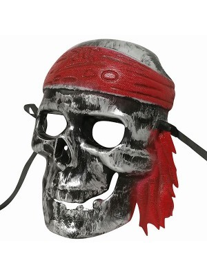 Ghost Pirate Skull Mask Silver