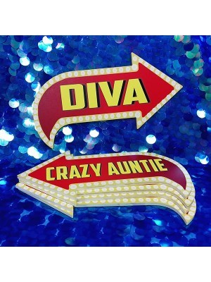 Diva & Crazy Auntie, Double-Sided PVC Vegas Arrow Photo Booth Word Board Signs