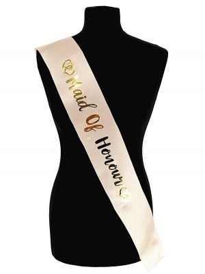 Champagne With Gold Foil 'Maid Of Honour' Sash