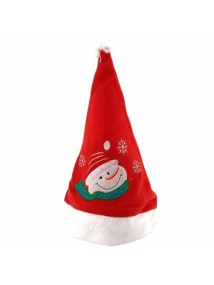 Embroidered Snowman Face Christmas Hat
