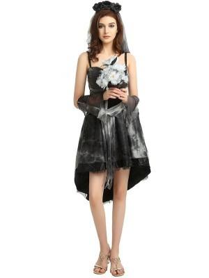 Evil Cobwebbed Zombie Bride Halloween Fancy Dress Costume - One Size