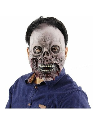 Rotten Zombie Bloody Shredded Skull Mask Halloween Fancy Dress Costume