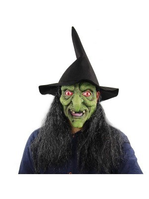 Classic Green Wicked Witch Mask Halloween Fancy Dress Costume
