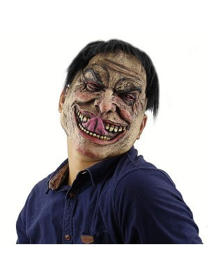 Creepy Evil Man Mask With Tongue Halloween Fancy Dress Costume