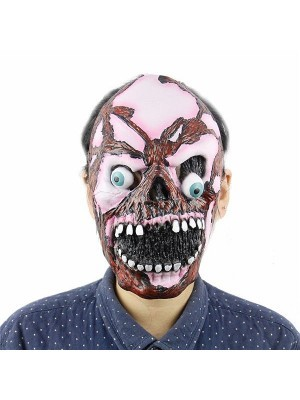 Crazed Demonic Pink Skull Mask Halloween Fancy Dress Costume