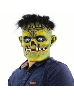 Evil Green Monster with Black Hair Mask Halloween Fancy Dress Costume