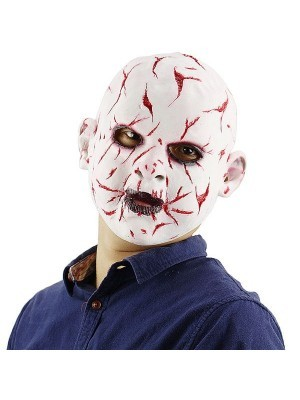 Evil Baby Scarred Head Mask Latex Halloween Fancy Dress Costume