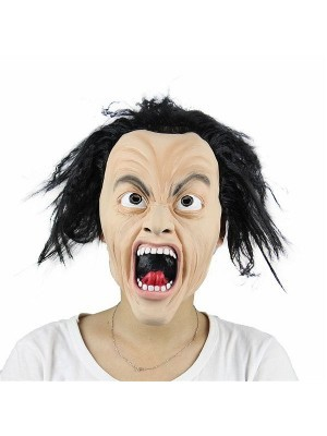 Crazed Screaming Man  Mask Halloween Fancy Dress Costume