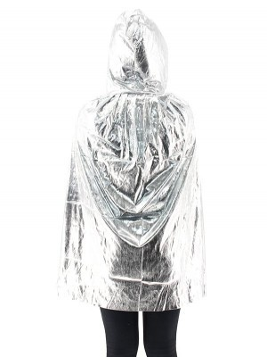 Fancy Dress, Costume Short Adult Shiny Silver Cloak