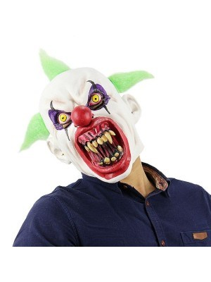 Fancy Dress, Costume Sinister Clown Mask with Green Hair