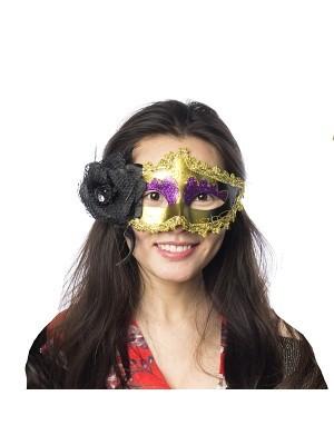 Beautiful Black Flowered Masquerade Mask in Gold & Purple.