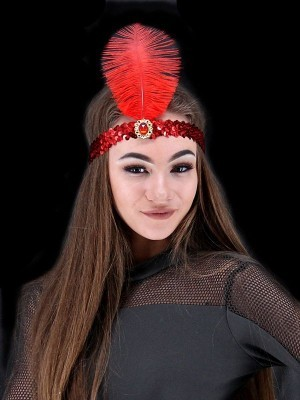 Gatsby Sequin Feathered Headband in Red