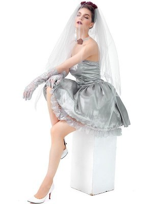 Ghost Bride Short Wedding Dress Women's Halloween Costume