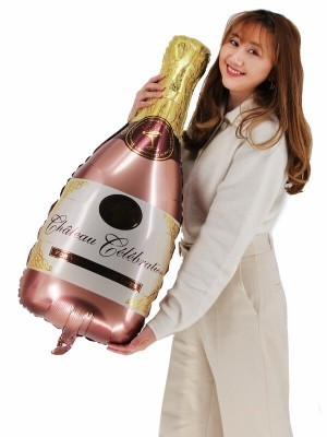 Giant Rose Gold 'Chateau Celebration' Champagne Bottle Balloon