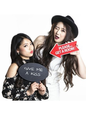 'Give Me A Kiss'  Valentine Black Speech Bubble Photo Booth Prop
