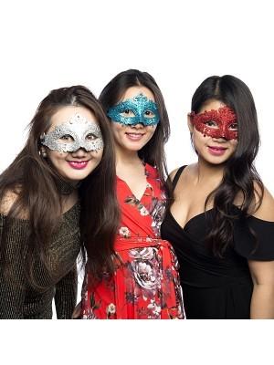 Glitzy Masquerade Mask Blue