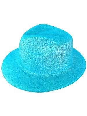 Blue Glitzy Plastic Gangster Hat