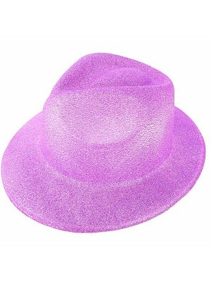 Purple Glitzy Plastic Gangster Hat