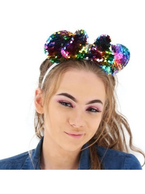 Glitzy Reversible Sequin Mouse Style Ears and Bow – Various Colours