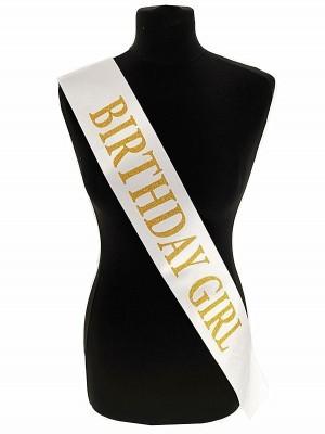 White With Gold Glitter 'Birthday Girl' Sash