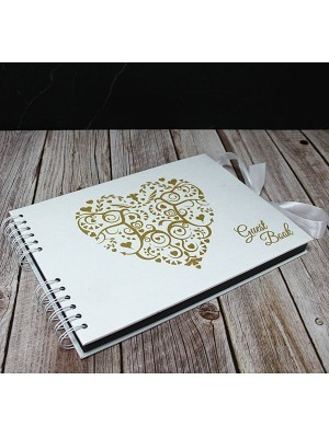 Good Size Gold Heart Guestbook