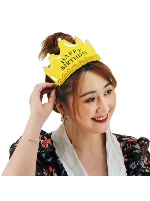 Gold 'Happy Birthday' Crown LED Light Up Tiara