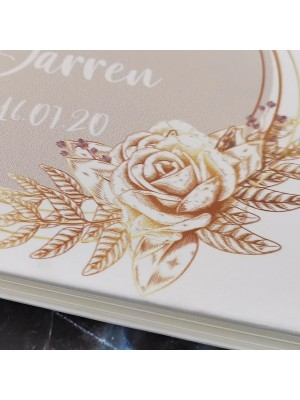 CUSTOM Gold & Pink Floral Circle Guestbook with Different Page Style Options