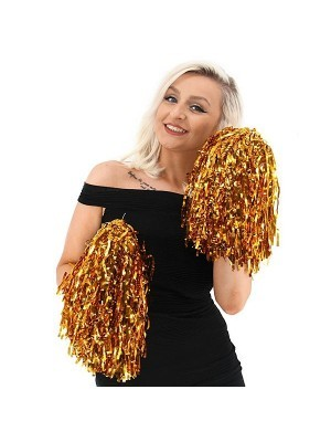Set Of 2 Glitzy Cheerleader Pom Poms In Gold