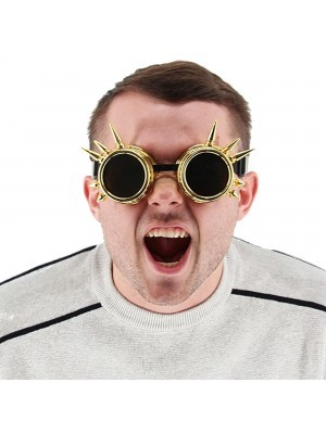 Gold Spiked Steampunk Style Goggles