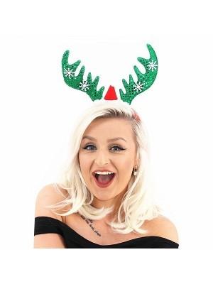 Green Glitzy Reindeer Antlers Christmas Headband