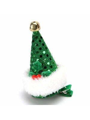 Green Sequin Top Hat Christmas Hair Clip