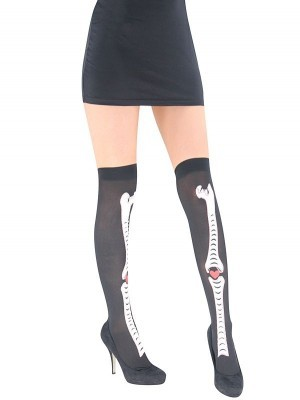Adult Halloween Skeleton Stockings with Hearts