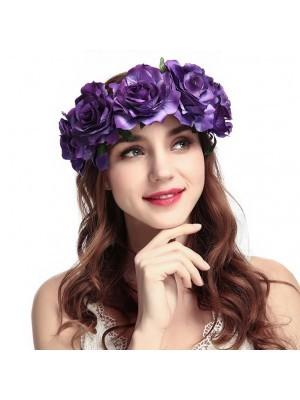 Beautiful Dark Purple Garland Flower Headband